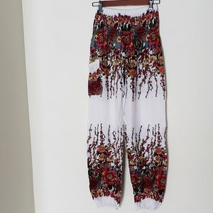 Floral Gypsy Pants in White